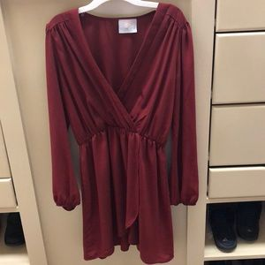 Burgandy Coveted Long Sleeve Wrap Dress Small